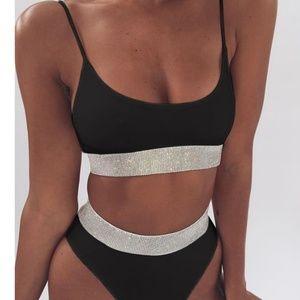 Other - Silver & Black 2 Pcs Bikini Swimsuit Bathing Suit